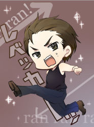 1boy billy_coen brown_eyes brown_hair chibi engrish frown full_body jeans male_focus open_mouth piko_(gomoku) resident_evil resident_evil_0 simple_background sleeveless sleeveless_shirt solo sweatdrop tank_top