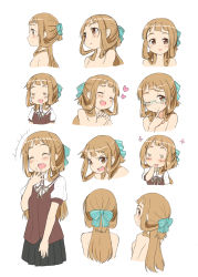 /\/\/\ 1girl :3 :d ;) =_= ^_^ agenasu aqua-framed_eyewear aqua_bow bare_shoulders blonde_hair blush bow breasts brown_eyes brown_ribbon closed_mouth expressions eyes_closed finger_to_mouth flower glasses hair_bow hands_clasped head_tilt heart highres laughing long_hair looking_at_viewer looking_away multiple_views nogi_sonoko one_eye_closed open_mouth parted_lips profile puffy_short_sleeves puffy_sleeves ribbon school_uniform semi-rimless_glasses short_sleeves sideways_mouth simple_background sketch small_breasts smile square_mouth striped striped_bow under-rim_glasses washio_sumi_wa_yuusha_de_aru white_background yuusha_de_aru