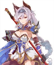 animal_ears armor brown_eyes granblue_fantasy heles polearm silver_hair skirt spear sumeshi_(ginshari40) weapon