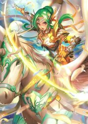 1girl armor artist_request belt breastplate brown_eyes cape elbow_gloves elincia_ridell_crimea feathers fire_emblem fire_emblem:_souen_no_kiseki fire_emblem_cipher gloves green_hair hair_bun hair_up highres holding holding_weapon horseback_riding looking_at_viewer official_art open_mouth outdoors pauldrons pegasus pegasus_knight riding scan solo sword tiara weapon wings
