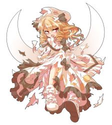 1girl alphes_(style) ankle_socks bandage blonde_hair dairi dress drill_hair fairy_wings frilled_dress frills hand_to_own_mouth hat looking_at_viewer luna_child open_mouth parody red_eyes ribbon simple_background solo style_parody tears torn_clothes torn_hat touhou twin_drills white_background wings