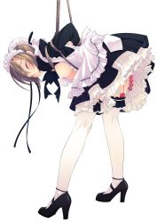 anal_beads apron bdsm bent_over blush bondage breasts brown_hair eyes_closed f-ism frills garter high_heels highres maid maid_headdress murakami_suigun nipples original restrained ribbon rope shoes simple_background skirt solo standing tears thighhighs vibrator white_background white_legwear