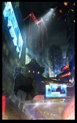 1girl aircraft airplane assault_rifle blurry border bow building cape city city_lights cyberpunk dark from_below goggles goggles_on_head gun hair_bow highres neon_lights night night_vision_device oota_youjo original ponytail purple_eyes purple_hair rain rifle science_fiction searchlight sign skyscraper solo weapon