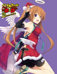 1girl absurdres bike_shorts black_gloves black_shorts brown_hair copyright_name cover cover_page dress erect_nipples feathered_wings fingerless_gloves gloves hat high_school_dxd highres long_hair looking_at_viewer miyama-zero novel_cover official_art one_leg_raised open_mouth purple_background purple_eyes red_dress red_hat santa_hat shidou_irina shorts simple_background solo twintails white_wings wings