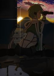 1girl arm_support ass bipod cloud cropped_jacket from_behind green_hair highres opp pgm_hecate_ii profile rebar ruins scarf scope shinon_(sao) short_hair sidelocks sitting solo sunset sword_art_online wariza