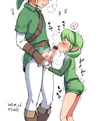 1boy 1girl 2015 artist_name bar_censor belt blush boots caressing_testicles censored clothed_sex dated fellatio fingerless_gloves gloves green_hair hairband head_out_of_frame height_difference kanya_pyi link loli masturbation ocarina_of_time oral pantyhose penis pointy_ears saliva saria shorts simple_background the_legend_of_zelda white_background