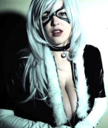 animated animated_gif black_cat_(marvel) breasts cleavage collar cosplay covering_breasts gloves large_breasts leather lipstick marvel mask naughty_face open_blouse open_clothes open_shirt photo spider-man_(series) tessa_fowler white_gloves white_hair