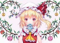 1girl apple ascot bangs blonde_hair blush crystal flandre_scarlet food frilled_shirt_collar frills fruit hat hat_ribbon kittona looking_at_viewer mob_cap puffy_short_sleeves puffy_sleeves red_eyes red_ribbon ribbon short_sleeves side_ponytail solo touhou traditional_media upper_body watercolor_pencil_(medium) wings wrist_cuffs
