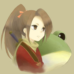 1girl brown_background brown_eyes brown_hair frog japanese_clothes long_hair ponytail scarf suzu_fujibayashi tales_of_(series) tales_of_phantasia weapon
