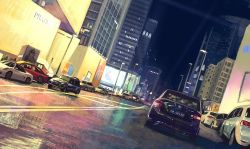 car cityscape dutch_angle ground_vehicle ibara_dance lamppost motor_vehicle night original reflective_floor scenery signature