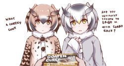 2girls black_hair blonde_hair blush brown_coat brown_eyes brown_hair coat commentary disco_brando english eurasian_eagle_owl_(kemono_friends) grey_coat kemono_friends long_sleeves looking_at_viewer multicolored_hair multiple_girls northern_white-faced_owl_(kemono_friends) open_mouth short_hair white_hair yellow_eyes
