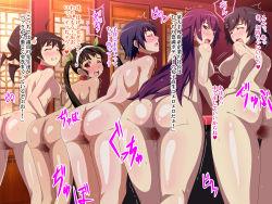 5girls anus araragi_karen ass bakemonogatari black_hair breasts collar hachikuji_mayoi hanekawa_tsubasa kanbaru_suruga loli long_hair monogatari_(series) multiple_girls nipple_rings nipples nude piercing purple_hair pussy pussy_juice sasurai_no_manbou senjougahara_hitagi slave translation_request twintails