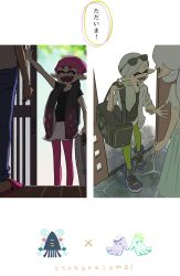 4girls alternate_hairstyle aori_(splatoon) arm_up backpack bag beanie black_hair black_shirt comic denim domino_mask duffel_bag eyes_closed family fangs green_legwear hair_down hat high_tops highres hikimayu hotaru_(splatoon) jacket jeans katou_(osoraku) low_ponytail mask mole mole_under_eye mother_and_daughter multiple_girls pants pantyhose pink_legwear pointy_ears ponytail shirt shoes shorts silver_hair slippers smile sneakers splatoon suitcase t-shirt tentacle_hair track_jacket translation_request waving