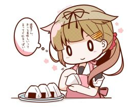 0_0 1girl :> alternate_hairstyle apron black_ribbon black_serafuku blonde_hair bloom2425 commentary food gradient_hair hair_flaps hair_ornament hair_ribbon hair_scrunchie hairclip kantai_collection long_hair multicolored_hair onigiri pink_apron plate ponytail remodel_(kantai_collection) ribbon school_uniform scrunchie serafuku short_sleeves solo translated yuudachi_(kantai_collection)