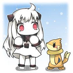 1girl ahoge character_request chibi dress horns ka_zhi kantai_collection long_hair mittens northern_ocean_hime pokemon red_eyes shinkaisei-kan white_dress white_hair white_skin