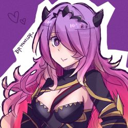 1girl armor breasts camilla_(fire_emblem_if) chibi demon_horns fire_emblem fire_emblem_if hair_ornament hair_over_one_eye highres horns large_breasts long_hair looking_at_viewer purple_eyes purple_hair smile