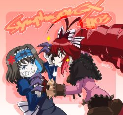 2girls anger_vein black_hair blue_eyes blue_hair blush_stickers claw_(weapon) copyright_name doll_joints dress eyes_closed garie_tuman hand_holding long_hair micha_jawkan multicolored_hair multiple_girls pale_skin puffy_sleeves red_hair senki_zesshou_symphogear sharp_teeth signature twintails very_long_hair wide_sleeves