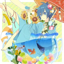 1boy afloat animal barefoot blue_eyes blue_hair blue_nails diagonal_stripes fish flower food fruit full_body goldfish hair_flower hair_ornament hairpin hands holding holding_umbrella innertube japanese_clothes jug kaito kimono koi leaf legs_up long_sleeves miniboy morning_glory nail_polish parasol partially_submerged plant red_string sash shell solo_focus star_print starfish string striped striped_background sunflower toenail_polish umbrella vines vocaloid water wide_sleeves wind_chime yoshiki yukata