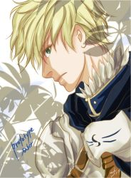1boy armor blonde_hair fate/prototype fate_(series) green_eyes nachi_jd saber_(fate/prototype) solo