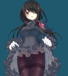 1girl bad_id black_dress black_hair date_a_live dress_lift gloves pantyhose red_eyes tokisaki_kurumi