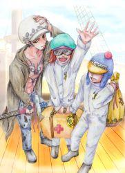 3boys bag earflap_hat hat heart_pirates jeans jumpsuit male multiple_boys nodachi one_piece penguin_(one_piece) pirate shachi_(one_piece) sheathed_sword ship suitcase sunglasses sword tattoo traditional_media trafalgar_law trio weapon