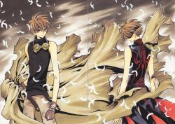 2boys absurdres blindfold brown_eyes brown_gloves brown_hair clamp dual_persona feathers gloves goggles highres multiple_boys short_hair tsubasa_chronicle xiaolang