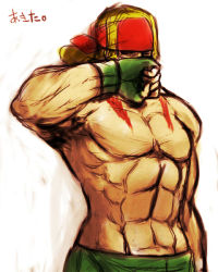 1boy abs alex_(street_fighter) blonde_hair fingerless_gloves frogcage gloves headband long_hair male muscle shirtless solo street_fighter