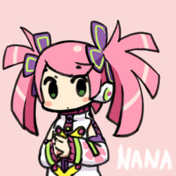 blush chan_co chibi green_eyes haruka_nana pink_hair utau