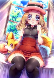 1girl bed blue_eyes fennekin hat naoto_(yandereheaven) pokemon pokemon_(anime) serena_(pokemon) skirt smile