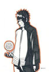 1boy kishimoto_masashi looking_at_viewer monochrome naruto official_art rasengan solo spiked_hair standing uzumaki_naruto whiskers