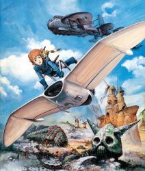 1girl 80s :d aircraft airplane androgynous blue_gloves blue_sky boots brown_eyes brown_hair brown_shoes building cloud day epic fantasy flying gloves head kaze_no_tani_no_nausicaa looking_at_viewer machinery monster nausicaa official_art oldschool open_mouth painting pet promotional_art realistic scan science_fiction shoes short_hair skull sky smile takani_yoshiyuki teto traditional_media windmill