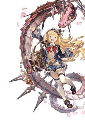 blonde_hair cagliostro_(granblue_fantasy) granblue_fantasy headband minaba_hideo official_art petals school_uniform test_tube thighhighs zettai_ryouiki