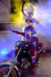 2girls cosplay lunalight_leo_dancer motorcycle multiple_girls photo purple_hair serena_(yuu-gi-ou_arc-v) two-tone_hair yu-gi-oh! yuu-gi-ou_arc-v