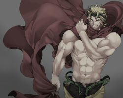 1boy cape dio_brando headband jojo_no_kimyou_na_bouken kisarazu_tetsuya muscle muted_color shirtless solo