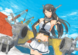 1girl bare_shoulders black_hair blush breasts clouds container crane elbow_gloves fingerless_gloves gloves hair_between_eyes hair_ornament hand_on_hip headgear index_finger_raised kantai_collection large_breasts long_hair midriff nagato_(kantai_collection) navel sea skirt sky solo vent_arbre wink