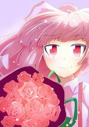 1girl bangs blunt_bangs bouquet floating_hair flower fujiwara_no_mokou hair_ribbon highres kurukuruchocolate long_hair looking_at_viewer pink_eyes pink_hair red_eyes red_rose ribbon rose solo touhou