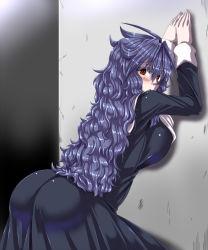 1girl :o against_wall ahoge ass bent_over black_dress blue_hair blush breasts dress kuon_yashiro large_breasts long_hair long_sleeves looking_at_viewer messy_hair nun original red_eyes solo