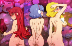 3girls ahoge all_fours anger_vein arms_up ass back black_eyes blonde_hair blue_eyes blue_hair blush breasts breath butt_crack clenched_teeth collage covering covering_ass cum cum_in_pussy cum_on_ass cum_on_body cum_on_lower_body cumdrip danball_senki doggystyle earmuffs eyes_closed from_behind group_sex hairband hairu hanasaki_ran hand_on_head hetero jessica_kaios kawamura_ami large_breasts long_hair looking_back multiple_girls nipples nude open_mouth orgy purple_eyes purple_hair red_eyes red_hair saliva sequential sex short_hair sideboob small_breasts standing sweat tears teeth twintails vaginal yellow_eyes