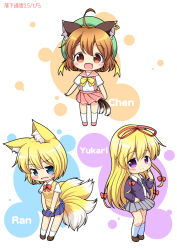 1girl 3: 3girls alternate_costume animal_ears blazer blonde_hair blue_eyes blush bow brown_eyes brown_hair cat_ears cat_tail character_name chen ear_piercing fang fox_ears fox_tail hair_ribbon hat jewelry long_hair looking_at_viewer multiple_girls multiple_tails nekomata open_blazer open_clothes open_mouth piercing pila-pela purple_eyes ribbon school_uniform short_sleeves single_earring smile standing tail touhou tress_ribbon very_long_hair vest yakumo_ran yakumo_ran_(fox) yakumo_yukari