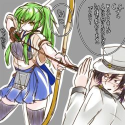 1boy 1girl admiral_(kantai_collection) admiral_(kantai_collection)_(cosplay) aiming archery arrow black_legwear bow_(weapon) c.c. code_geass covering_face creayus green_hair grey_background hakama_skirt hat japanese_clothes kaga_(kantai_collection) kaga_(kantai_collection)_(cosplay) kantai_collection kyuudou lelouch_lamperouge long_hair military military_uniform muneate naval_uniform peaked_cap side_ponytail simple_background speech_bubble talking text thighhighs translation_request uniform upper_body weapon yellow_eyes yugake