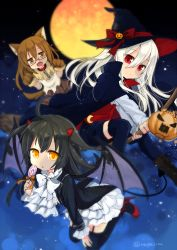 3girls alternate_costume animal_ears black_hair black_legwear bow bowtie broom broom_riding brown_eyes brown_hair candy crescent crescent_moon_pin demon_tail demon_wings fangs food full_moon glasses halloween halloween_costume hat high_heels horns jack-o'-lantern kantai_collection kikuzuki_(kantai_collection) lollipop long_hair long_sleeves mikazuki_(kantai_collection) mochizuki_(kantai_collection) moon multiple_girls nagasioo red-framed_eyewear red_eyes red_ribbon red_shoes ribbon shoes skirt tail thighhighs twitter_username white_bow white_bowtie white_hair white_skirt wings witch_hat wolf_ears wolf_tail yellow_eyes