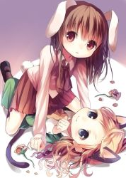 2girls animal_ears blonde_hair blue_eyes brown_hair bunny_ears bunny_tail cat_ears cat_tail flower ib ib_(ib) kemonomimi_mode long_hair looking_at_viewer lying mary_(ib) multiple_girls opopowa parted_lips paw_pose pleated_skirt red_eyes rose skirt smile tail