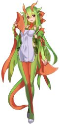 1girl blush boots bridal_gauntlets brown_eyes elbow_gloves fan folding_fan full_body gloves green_gloves green_hair highres horns katagiri_hachigou long_hair looking_at_viewer personification pokemon salamence simple_background smile solo standing tail thigh_boots thighhighs very_long_hair white_background