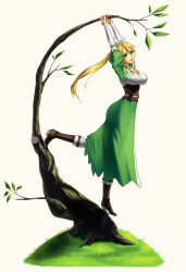 1girl artist_request blonde_hair boots dress high_heels highres leafa long_hair ponytail see-through solo sword_art_online watermark web_address