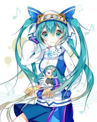 1girl absurdres aqua_eyes aqua_hair blush bunny goggles goggles_on_head hat hatsune_miku highres long_hair looking_at_viewer musical_note skirt smile twintails very_long_hair vocaloid