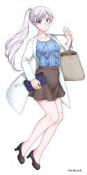 1girl bag bare_legs black_shoes blazer blue_eyes blue_shirt collarbone earrings frills high_heels highres jacket jewelry kio_rojine legs long_hair looking_at_viewer pale_skin rwby scar scar_across_eye shirt shoes shoulder_bag side_ponytail simple_background skirt smile snowflake_print solo weiss_schnee white_background white_coat white_hair