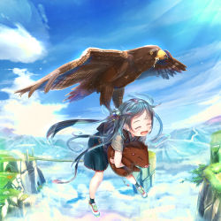 1girl :d abo_(kawatasyunnnosukesabu) above_clouds backpack bag bird blue_hair boar bridge carrying child cliff cloud day eyes_closed flying hair_ornament hawk landscape mountain open_mouth original pig saliva shirt short_sleeves skirt sky smile twintails