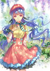 1girl beret checkered dress hair_ornament hat highres long_hair looking_at_viewer low_twintails pink_eyes purple_hair red_dress scarf shirt short_sleeves solo tidsean twintails very_long_hair vocaloid wind xin_hua yellow_shirt