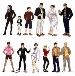 5girls 6+boys alternate_costume bandage bangs batman batwoman belt black_hair black_shoes blonde_hair blue_beetle blue_eyes bob_cut booster_gold boots bracelet brother brothers bruce_wayne candy cardigan catwoman clark_kent converse crossed_arms damian_wayne dark_skin dc_comics doughnut dress earrings father father_and_son fedora food full_body glasses hands_on_hips harley_quinn hat high_heels hoodie huntress jacket jeans kate_kane leggings loafers lollipop multiple_boys multiple_girls necktie phone pink_shirt pixie_cut red_hair red_sweater saddle_shoes sandals scarf selina_kyle short_hair shorts siblings skirt smile standing suit sunglasses superman ted_kord tim_drake twintails vambraces vixen_(dc) white_dress white_shoes wristwatch yellow_eyes yellow_shirt