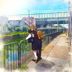 1boy 1girl 2016 artist_name backpack bag balcony black_hair black_pants black_skirt blonde_hair blue_sky bridge brown_shoes building charm_(object) dated day from_behind grass hair_ornament hand_on_another's_back house kitashirakawa_tamako kneehighs loafers long_sleeves low_twintails manhole_cover momose_(oqo) ooji_mochizou outdoors pants plant power_lines railing reflection river school_bag shadow shirt shoes short_hair_with_long_locks skirt sky stairs standing stone_floor summer sun tamako_market telephone_pole town twintails water white_legwear white_shirt zipper